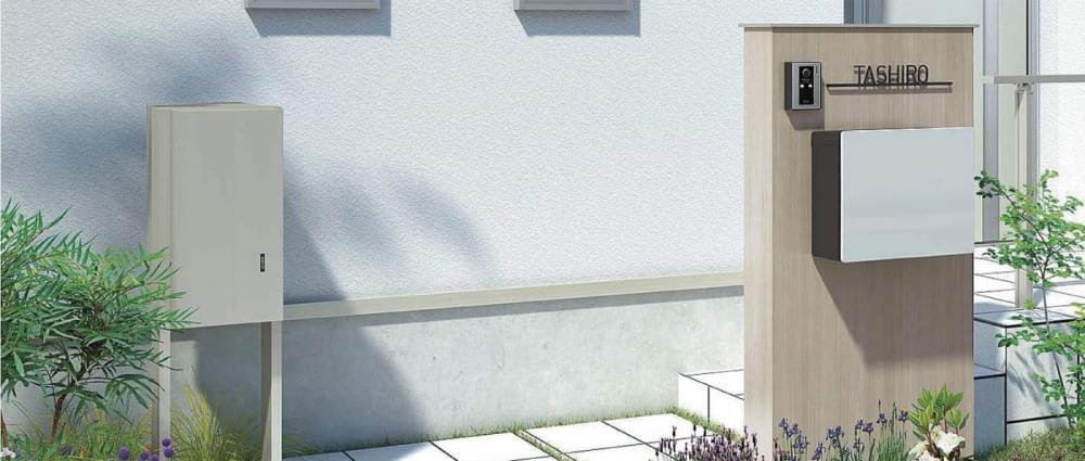 玄関し設置されている留守中でも宅配荷物を受け取ることができる便利な宅配ボックス