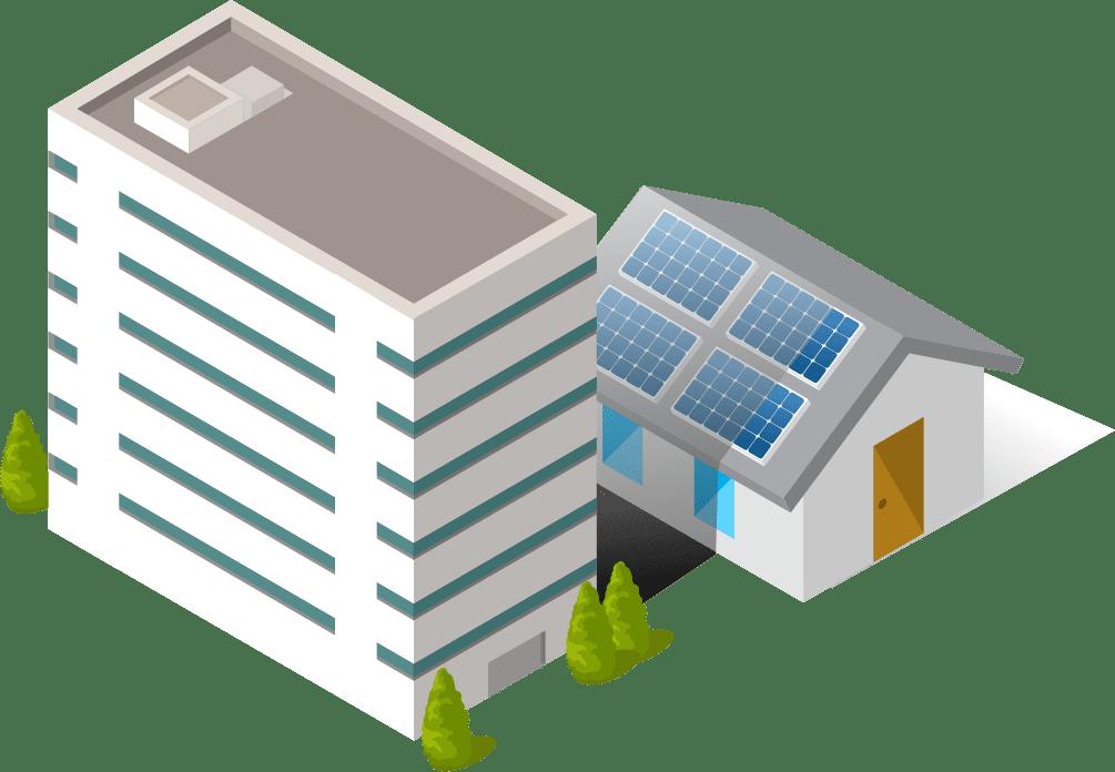 ビルの日陰で太陽光発電ができない家のイラスト